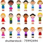 vertical group of children   Shutterstock .eps vector #75992494