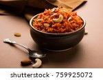 gajar ka halwa is a carrot... | Shutterstock . vector #759925072