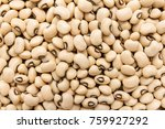 Small photo of Vigna unguiculata is scientific name of Black Eyed Pea legume. Also known as Goat Pea, California Blackeye and Feijao Fradinho. Closeup of grains, background use.
