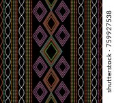 striped geometric embroidery... | Shutterstock .eps vector #759927538
