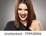close up face portrait in... | Shutterstock . vector #759928006