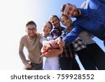 college students teamwork... | Shutterstock . vector #759928552