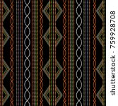 striped ethnic embroidery... | Shutterstock .eps vector #759928708