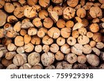 old wooden log and timber...   Shutterstock . vector #759929398