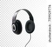 black headphones. 3d realistic... | Shutterstock .eps vector #759929776