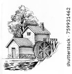Water Mill. Black And White Ink ...