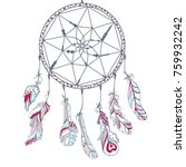 dreamcatcher. feathers. tattoo... | Shutterstock . vector #759932242