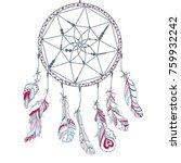 dreamcatcher. feathers. tattoo... | Shutterstock . vector #759932242