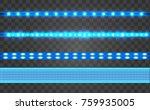 Set Led Realistic Blue Ribbon...