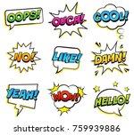 retro comic speech bubbles set... | Shutterstock .eps vector #759939886