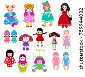 vector doll toy cute girl... | Shutterstock .eps vector #759944032