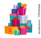 colorful wrapped gift boxes.... | Shutterstock . vector #759946366