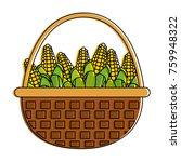 corns inside basket design | Shutterstock .eps vector #759948322