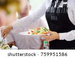 waiter carrying plates with... | Shutterstock . vector #759951586