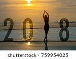 yoga happy new year card 2018....   Shutterstock . vector #759954025