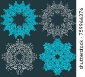 set of circular blue pattern or ... | Shutterstock .eps vector #759966376