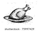 roasted chicken - stock vector
