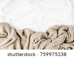 bedding with warm  plaid. copy... | Shutterstock . vector #759975238