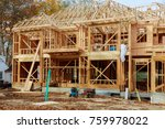 the house is new in wood... | Shutterstock . vector #759978022