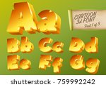 vector 3d gold font in cartoon...
