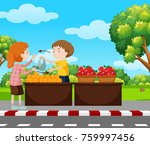 boy selling fruits on pavement... | Shutterstock .eps vector #759997456