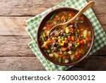 vegetable soup with ground beef ... | Shutterstock . vector #760003012