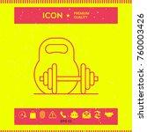 kettlebell and barbell line icon | Shutterstock .eps vector #760003426