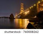 golden gate bridge at night... | Shutterstock . vector #760008262