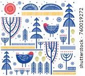 folk art pattern in... | Shutterstock .eps vector #760019272