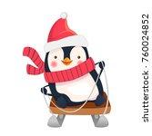 penguin on sled. penguin... | Shutterstock .eps vector #760024852