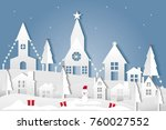 merry christmas and landscape... | Shutterstock .eps vector #760027552
