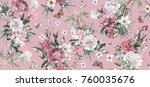 Stock photo seamless pattern with flowers and exotic leaves on pink background floral pattern for wallpaper 760035676