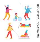 peoples activities in winter ...   Shutterstock .eps vector #760037308