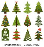 big set of christmas tree... | Shutterstock .eps vector #760037902