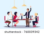 people drinking red wine and... | Shutterstock .eps vector #760039342