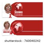 world aids day banner set. 1... | Shutterstock .eps vector #760040242