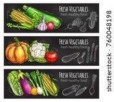 vegetable and bean fresh food... | Shutterstock .eps vector #760048198