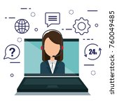 customer service agent with... | Shutterstock .eps vector #760049485