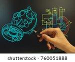 engineer working at computer on ...   Shutterstock . vector #760051888