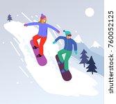 snowboarder jumping sport... | Shutterstock .eps vector #760052125