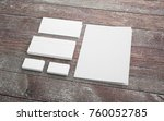 blank stationery set on wooden... | Shutterstock . vector #760052785