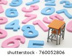 numbers and desk on white... | Shutterstock . vector #760052806