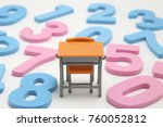 numbers and desk on white... | Shutterstock . vector #760052812