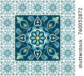 mexican tile pattern floor... | Shutterstock .eps vector #760052872