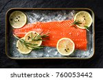 fresh fish fillet on ice with... | Shutterstock . vector #760053442