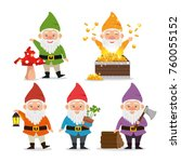 fantastic character dwarf... | Shutterstock .eps vector #760055152