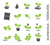 Plant In Green Icons Set Vector