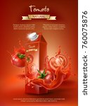 tomato juice ad  paper box with ... | Shutterstock .eps vector #760075876