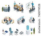 corporate office life isometric ... | Shutterstock .eps vector #760078528