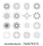 set of isolated sunburst rays... | Shutterstock .eps vector #760079272
